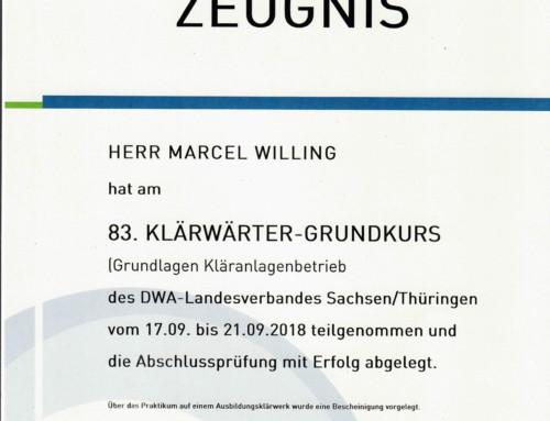 DWA Klärwärter: Marcel Willing