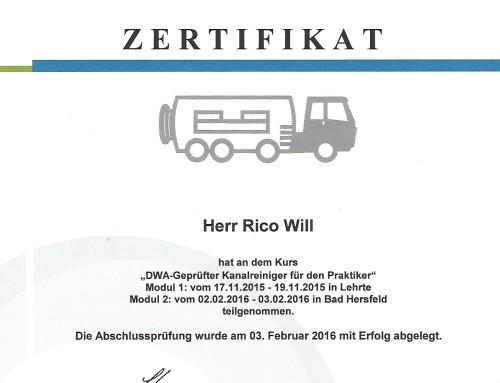 Rico DWA Zertifizierung